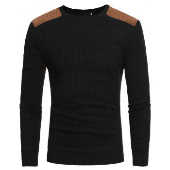 2018 Autumn and Winter New Suede Patch Cloth Design Men Round Neck Casual Slim Knit Sweater - BLACK 3XL