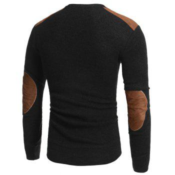 2018 Autumn and Winter New Suede Patch Cloth Design Men Round Neck Casual Slim Knit Sweater - BLACK 2XL
