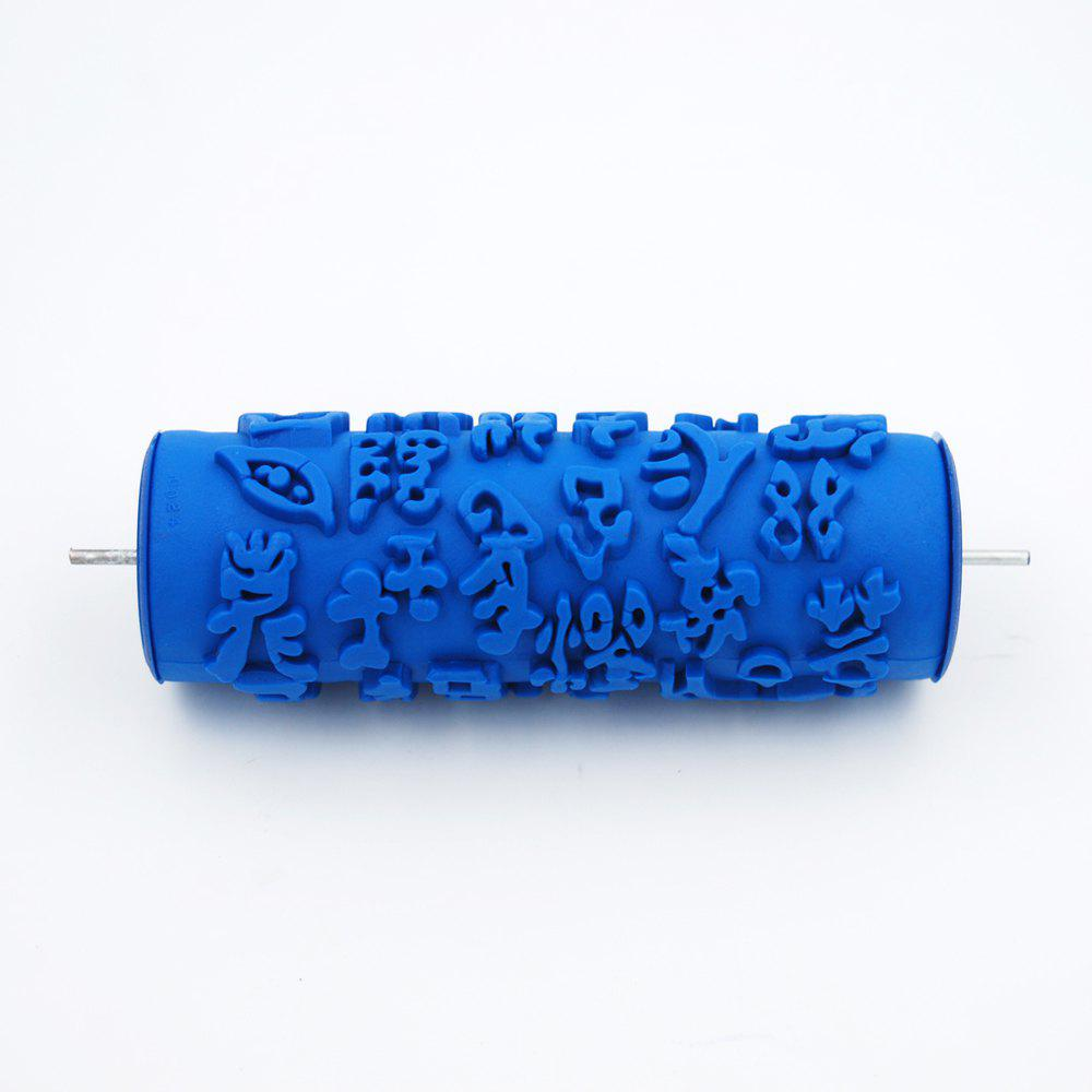 Samrui Knurled Relief Printing Paint Roller Brush Wallpaper Tool for DIY Wall Decoration 15CM - BLUE