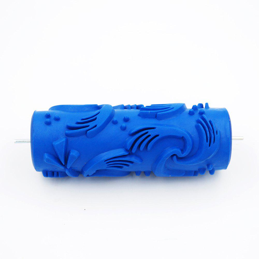 Samrui 016Y 15CM DIY Floral and Dot Pattern Paint Roller for Wall Decoration - BLUE