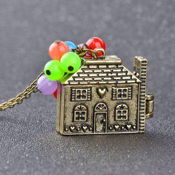 Kid's Necklace Vintage Metal House Pendant Colorful Beads Kids Accessory - COLORMIX