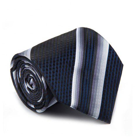 New Casual Men Tie Striped Breathable Business  Necktie - CERULEAN