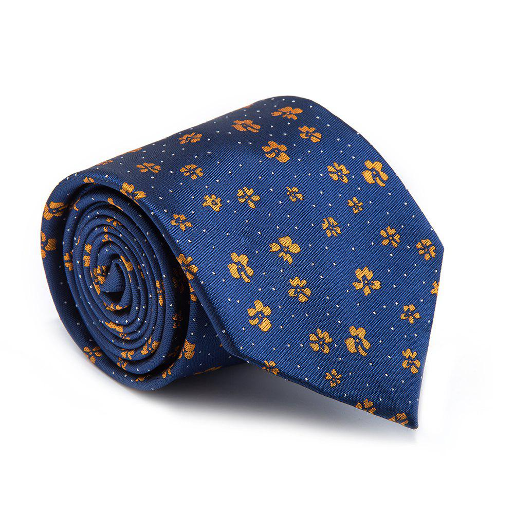 Nouvelle Mode Fine Hommes Cravate Motif Floral Simple Style Occasionnel Ventilate Cravate Accessoire - Bleu