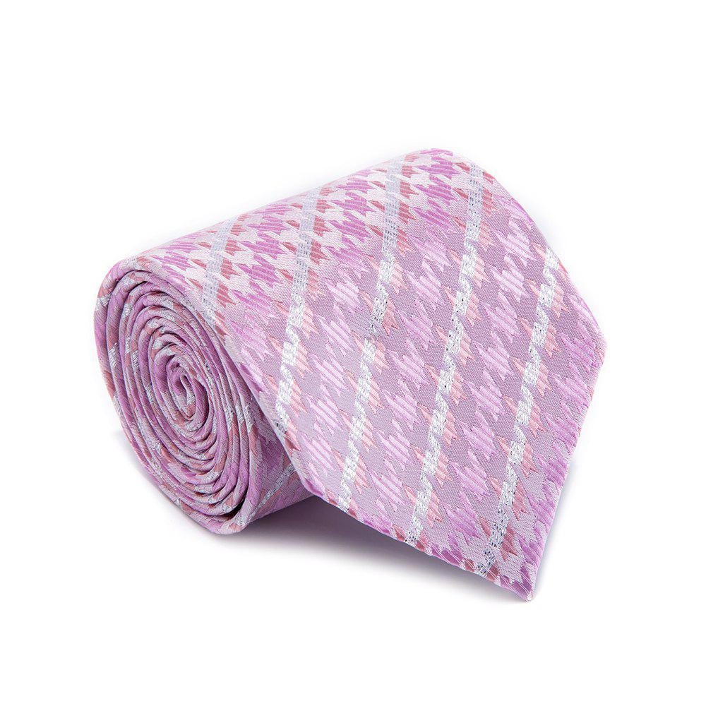 Mode Fine Men Tie Faddish Simple Unique Houndstooth Conception Confortable Business Cravate Accessoire - Rose