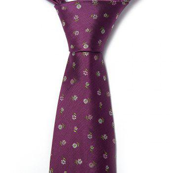 Nouvelle Mode Fine Hommes Cravate Faddish Unique Brodé Floral Motif Conception Confortable D'affaires Cravate Accessoire - Pourpre
