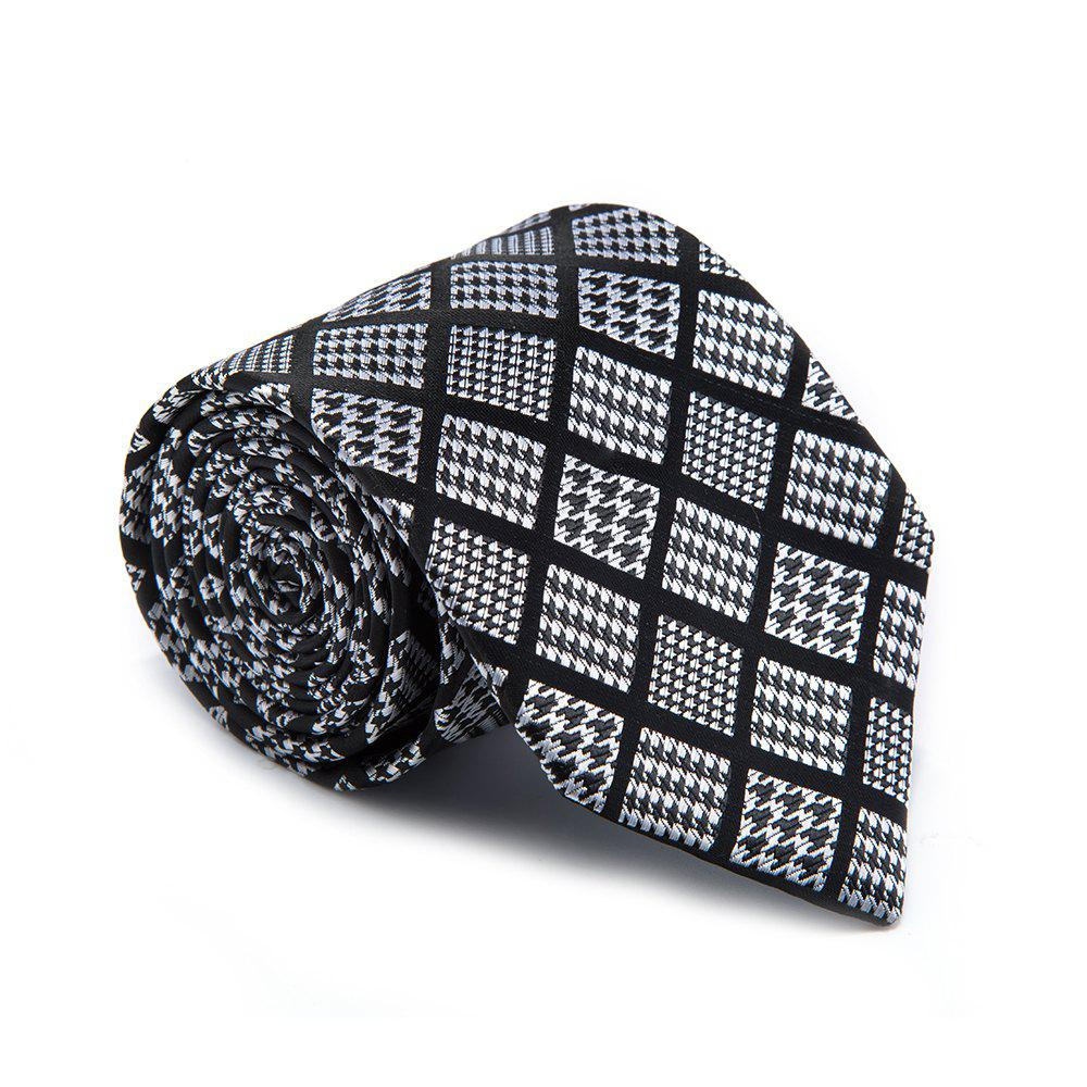 Nouveau Mode Fine Men Cravate Unique Houndstooth en Plaid Design Confortable Lattice Business Cravate Accessoire - Noir