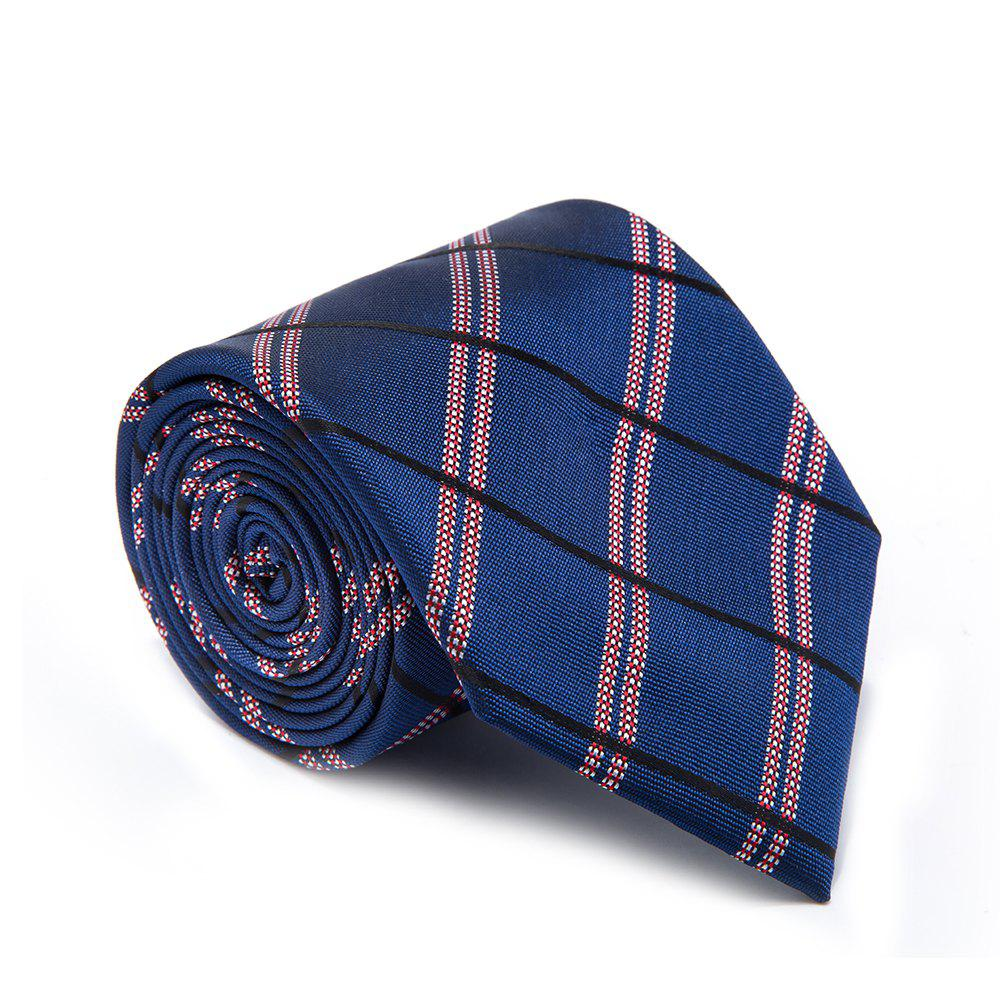 New Fashion Fine Men Tie Stripe Lattice Business Necktie - BLUE