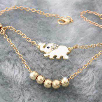 Women's Fashion Gold Plated Animal Lucky Elephant Charm Beads Chains Anklet Foot Chain - SILVER