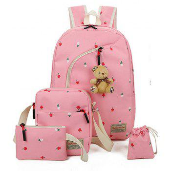 4pcs Girl s School Bags Canvas Backpack