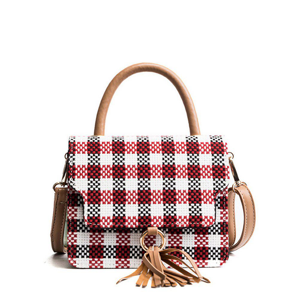 Women's Crossbody  Color Block Patchwork Faddish Bag - RED