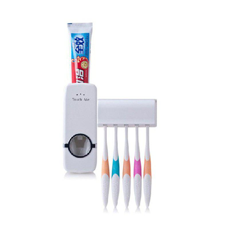 1 Set Tooth Brush Holder Automatic Toothpaste Dispenser + 5 Toothbrush Stand Toothbrush Wall Mount Stand Bathroom Tools - WHITE