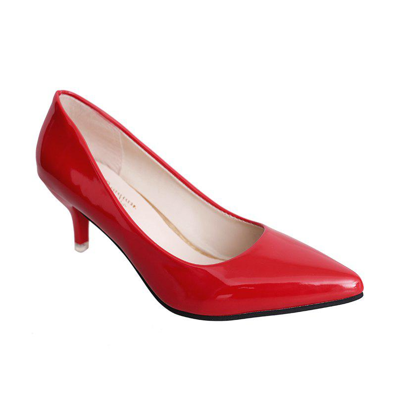 High Heels with Pointed Toes - RED 38