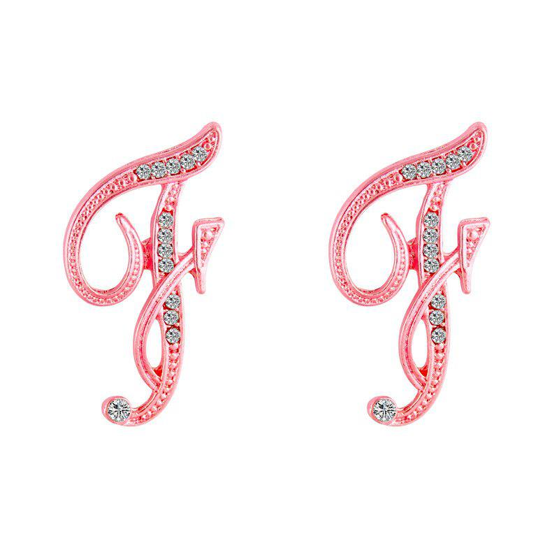 Design Classic 26 Letters Stud Earrings Fashion Jewelry For Women Crystal Rhinestone Push Back Trendy - F