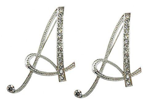 Classic 26 Letters Stud Earrings Fashion Jewelry For Women Crystal Rhinestone Push Back Trendy - A