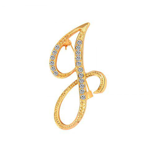 2017 New Fashion Jewelry Classic 26 Letters Brooches Metal Gold Color Crystal Pins Clothing Accessories For Women - JIN