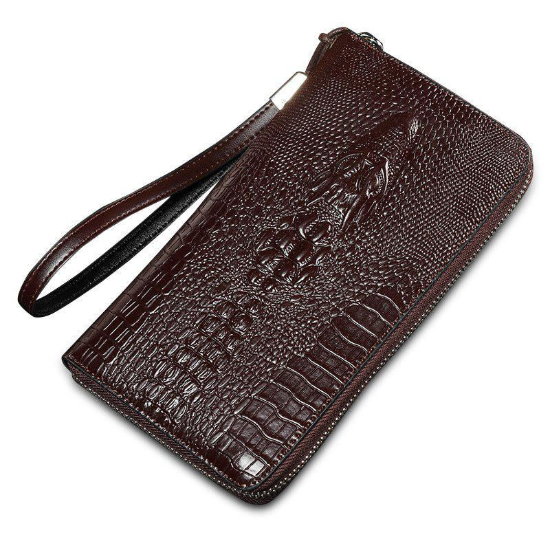 Pochette Homme Nouveau Crocodile Pattern Purse Fashion Temperament - Café