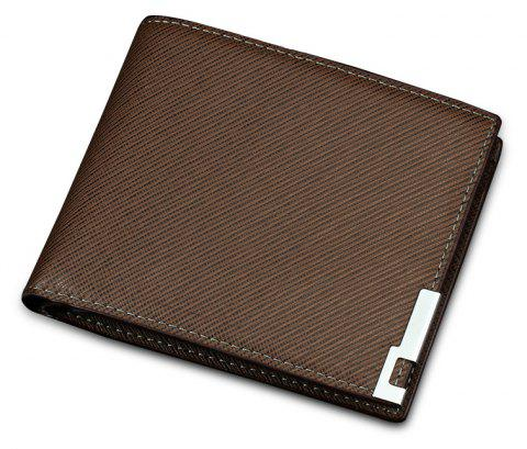 Men's short purse cruciate three fold driver's license wallet - COFFEE
