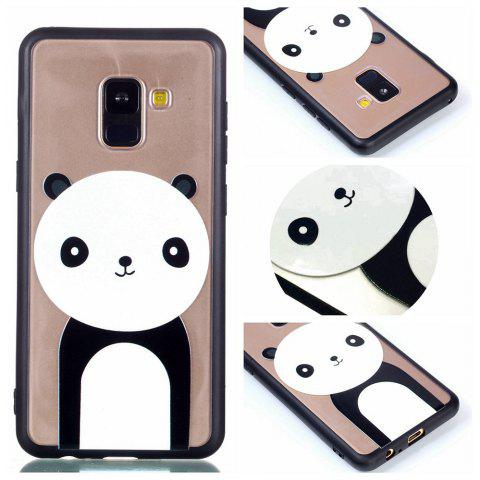 Cover Case for Samsung A8 Plus Relievo Giant Panda Soft Clear TPU Mobile Smartphone Cover Shell Case - BLACK WHITE