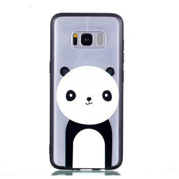 Cover Case for Samsung S8 Relievo Giant Panda Soft Clear TPU Mobile Smartphone Cover Shell Case - BLACK WHITE