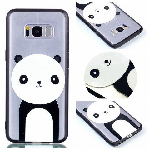 Cover Case for Samsung S8 Plus Relievo Giant Panda Soft Clear TPU Mobile Smartphone Cover Shell Case - BLACK WHITE