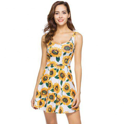 Floral Print Bohemian Beach Mini Dress - FLORAL M