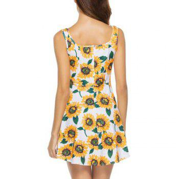 Floral Print Bohemian Beach Mini Dress - FLORAL XL