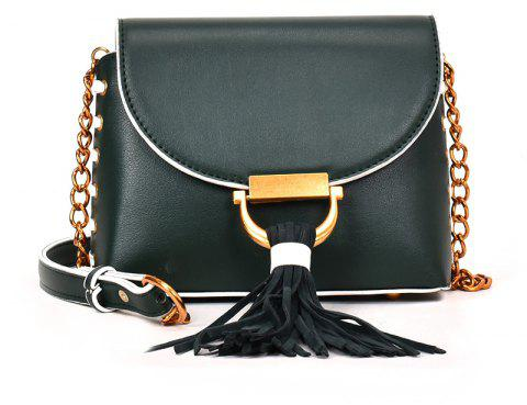 Messenger Shoulder Bag Female Fashion Tassel Bag - GREEN