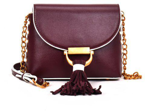 Messenger Shoulder Bag Female Fashion Tassel Bag - WINE RED