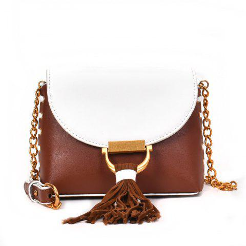 Messenger Shoulder Bag Female Fashion Tassel Bag - BROWN