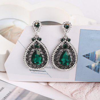 Alloy Crystal Earrings with Fashion For Women - SILVER/GREEN