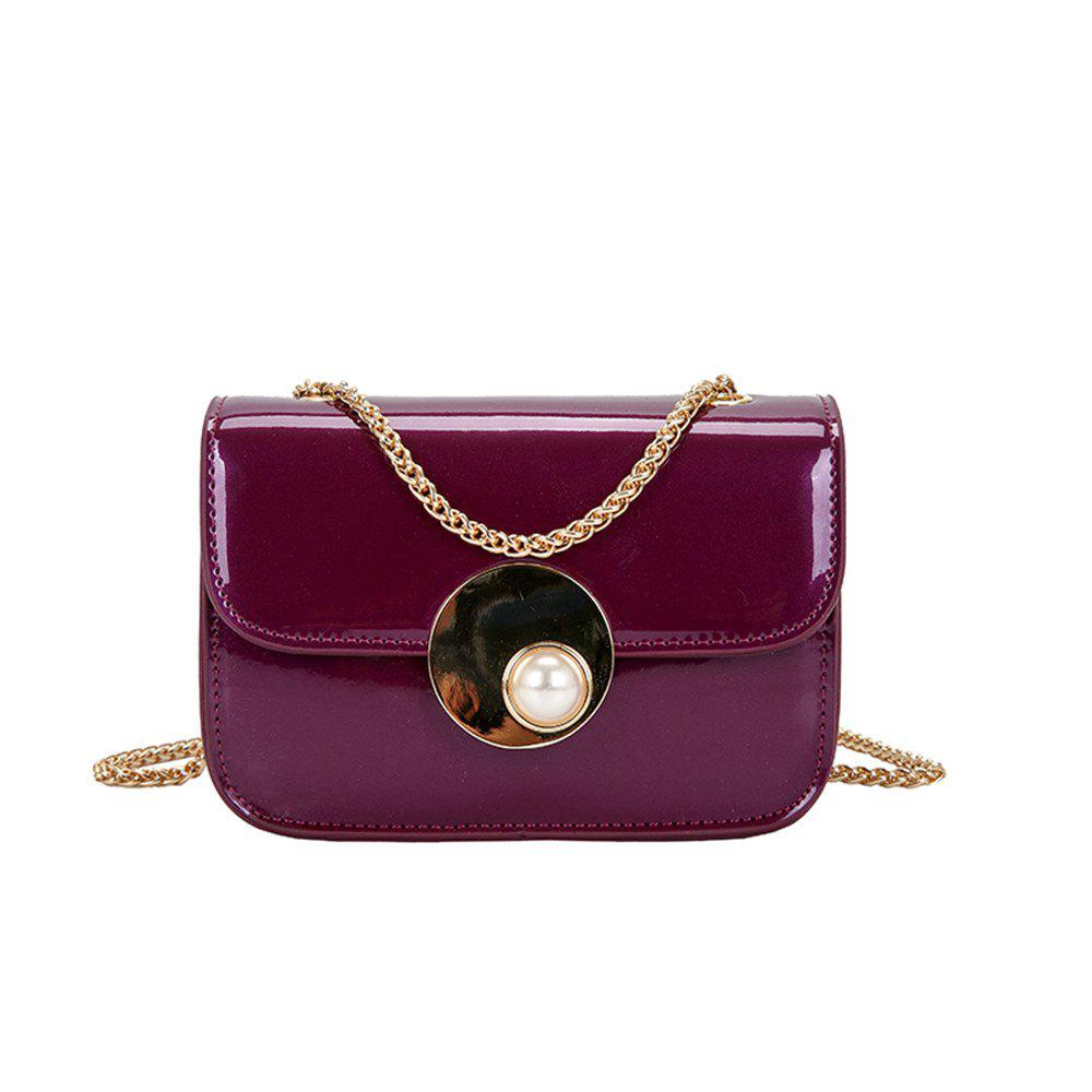 Girls Small Female Personality Pearl Lock Square Shoulder Messenger Chain Bag - PURPLE