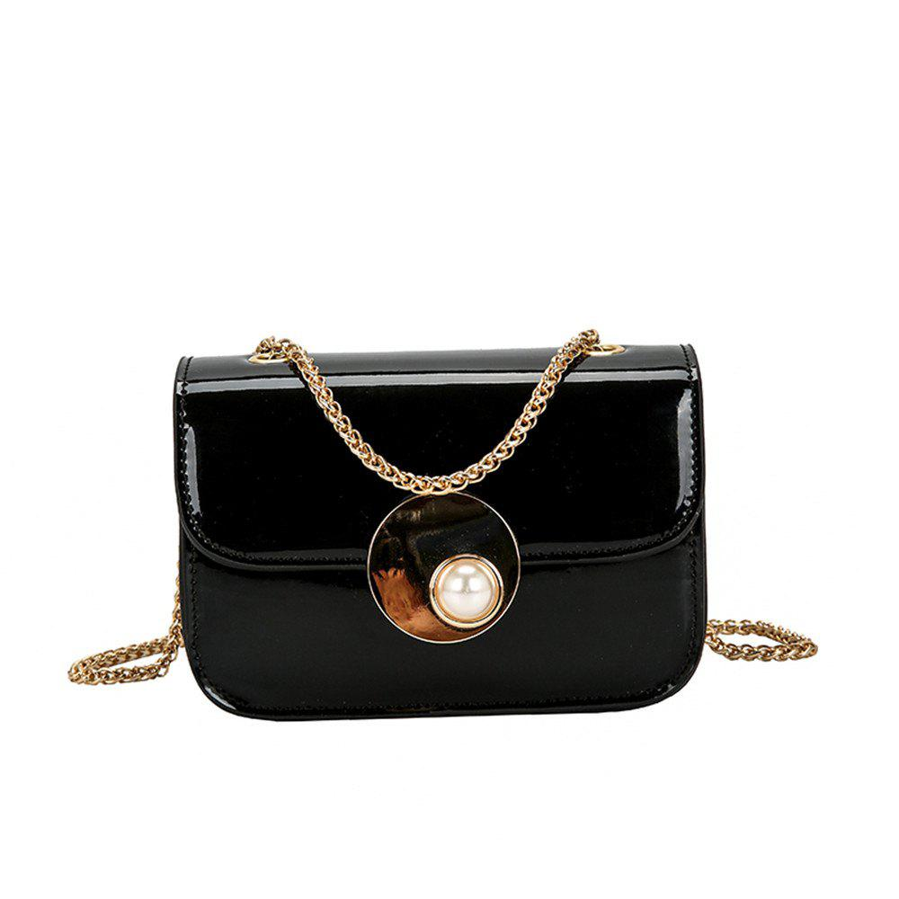 Girls Small Female Personality Pearl Lock Square Shoulder Messenger Chain Bag - BLACK