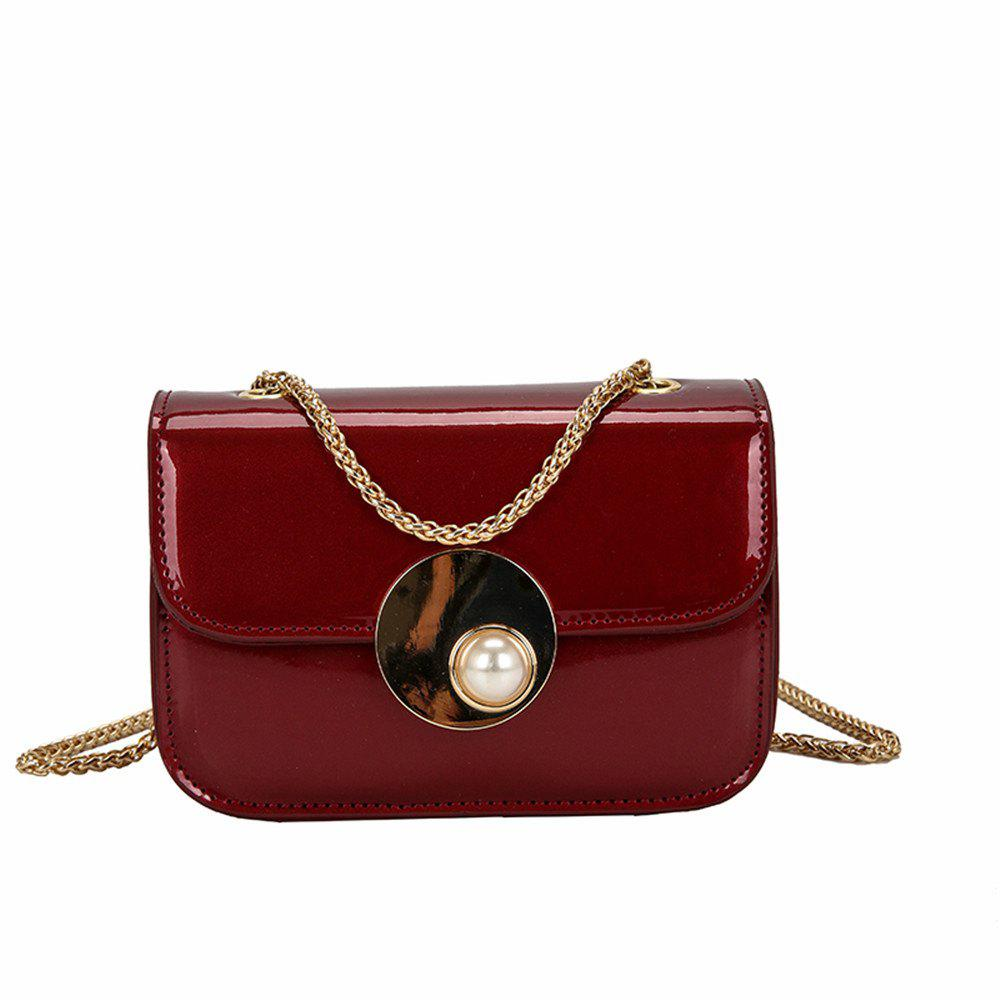 Girls Small Female Personality Pearl Lock Square Shoulder Messenger Chain Bag - WINE RED