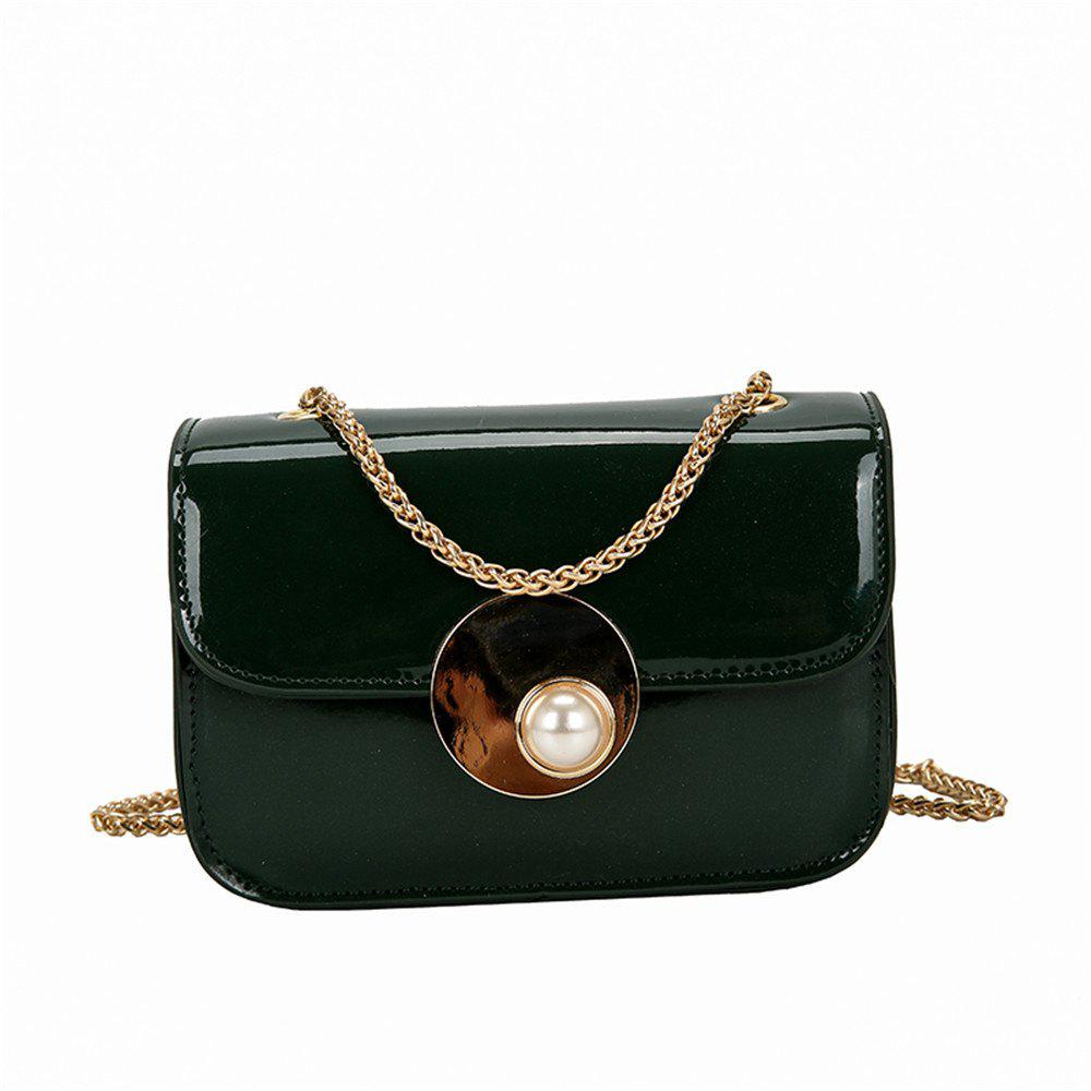 Girls Small Female Personality Pearl Lock Square Shoulder Messenger Chain Bag - GREEN