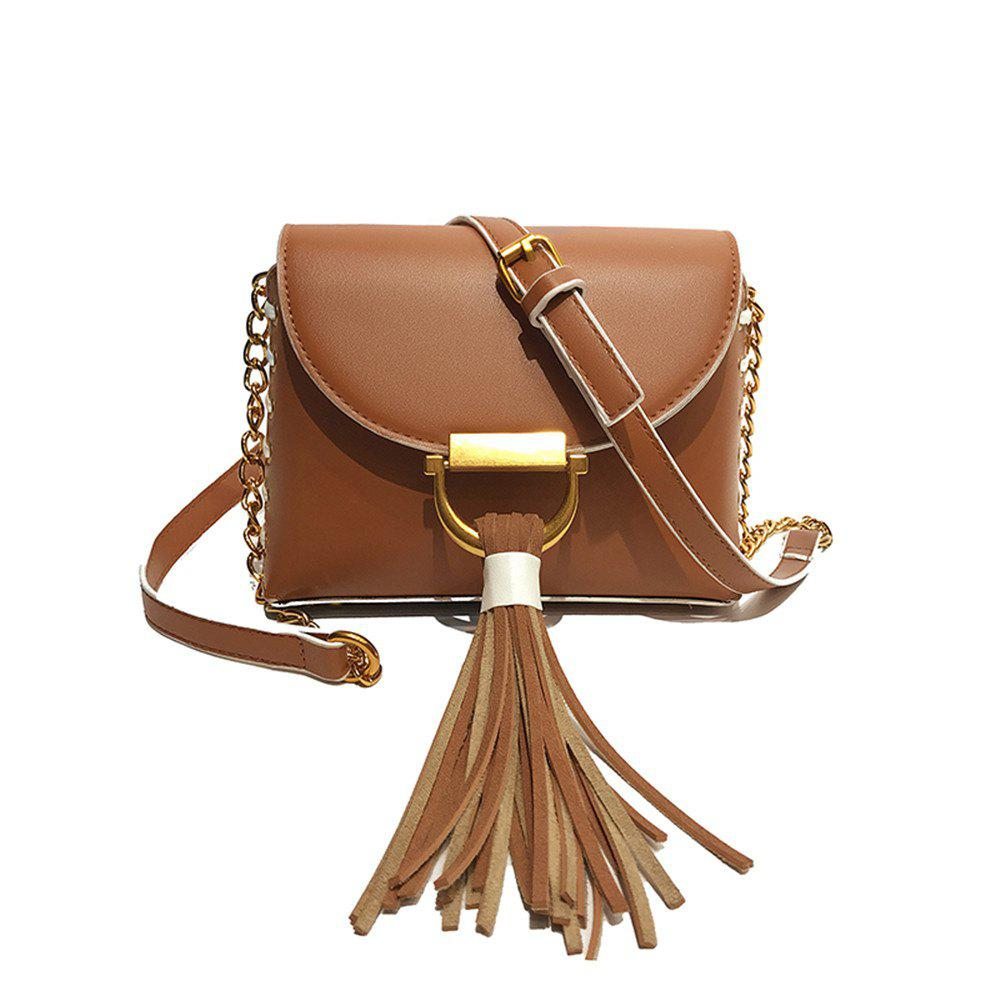 Chain Fringed Female Small Square Female Messenger Shoulder Fashion Handbag Packet - BROWN