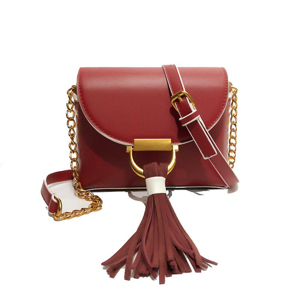 Chain Fringed Female Small Square Female Messenger Shoulder Fashion Handbag Packet - RED