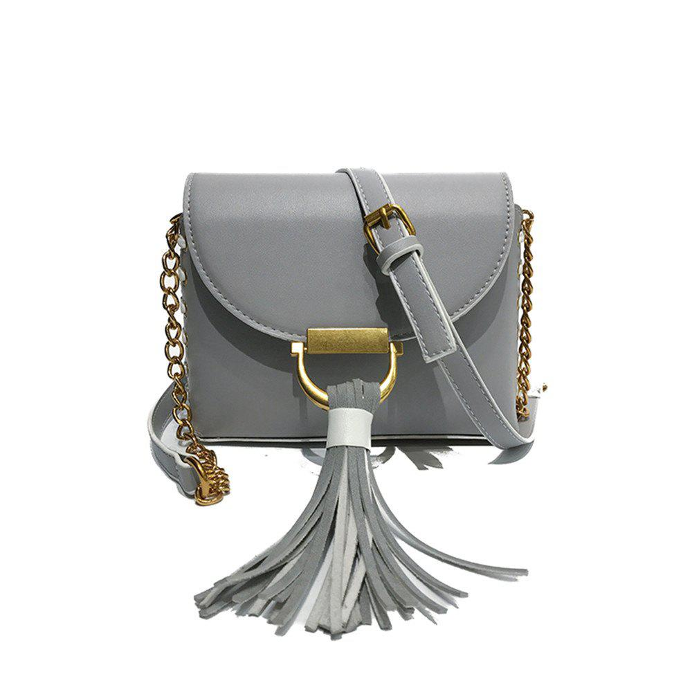 Chain Fringed Female Small Square Female Messenger Shoulder Fashion Handbag Packet - GRAY