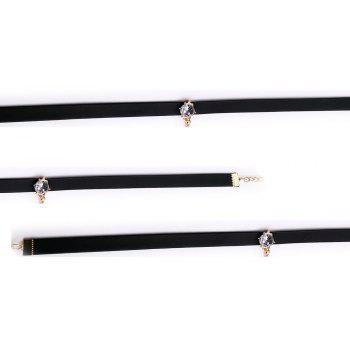 New Fashion Leather Necklace Inlaid Zircon Adjustable Gold Chain Choker - BLACK