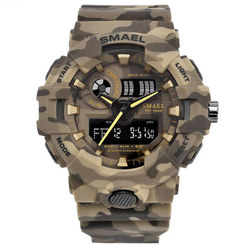SMAEL 8001 Cool Multi-function Camouflage Waterproof Sport Electronic Watch - KHAKI