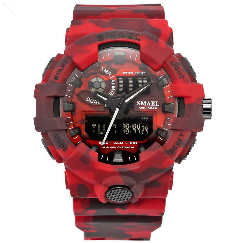 SMAEL 8001 Cool Multi-function Camouflage Waterproof Sport Electronic Watch - RED