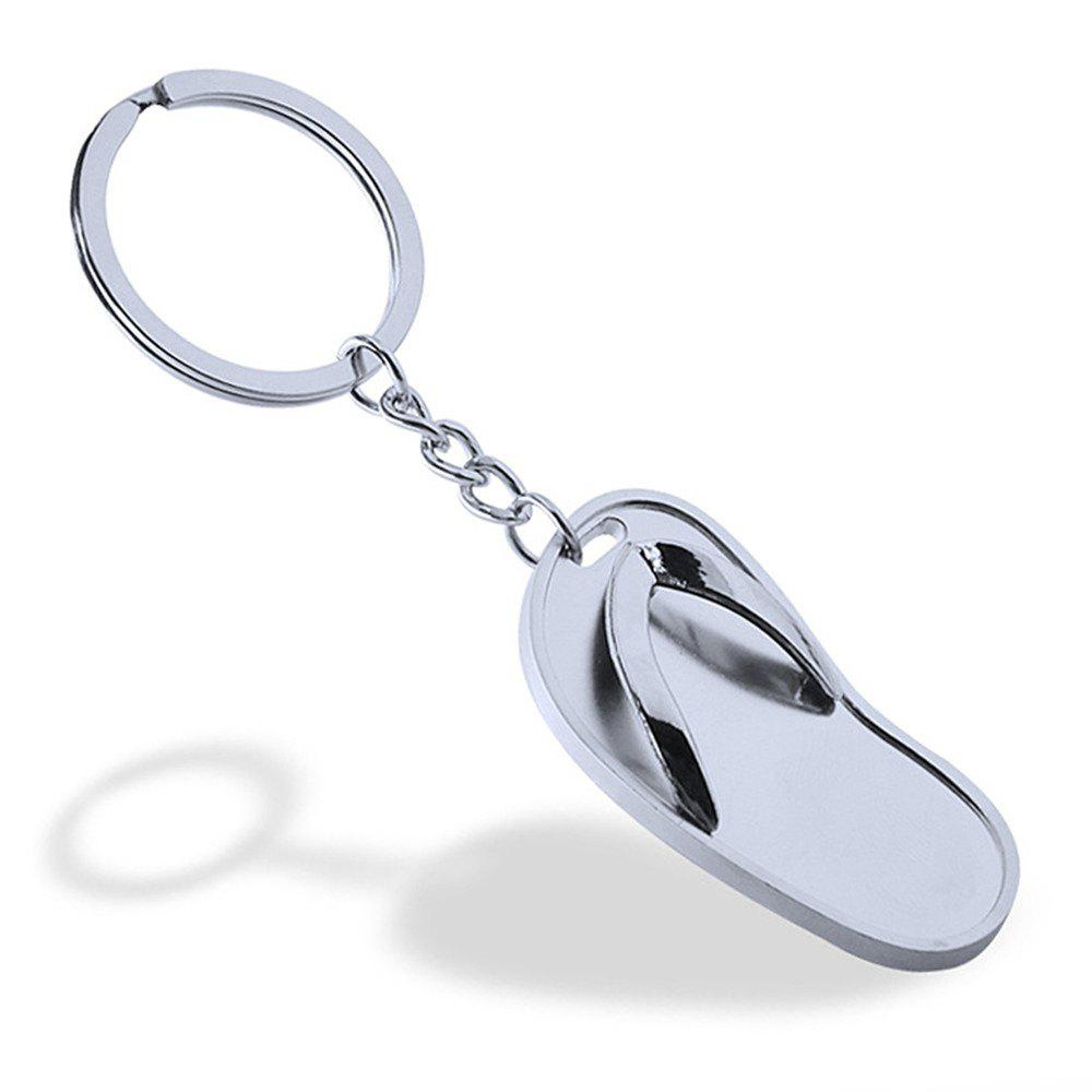 Fashion Accessories Flip Flop Keychain Metal Key Ring Creative Gift - SILVER