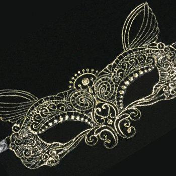 New High-Quality Fashion Sexy Ladies Gift Party Lace Hot Gold Fairy Mask - GOLDEN