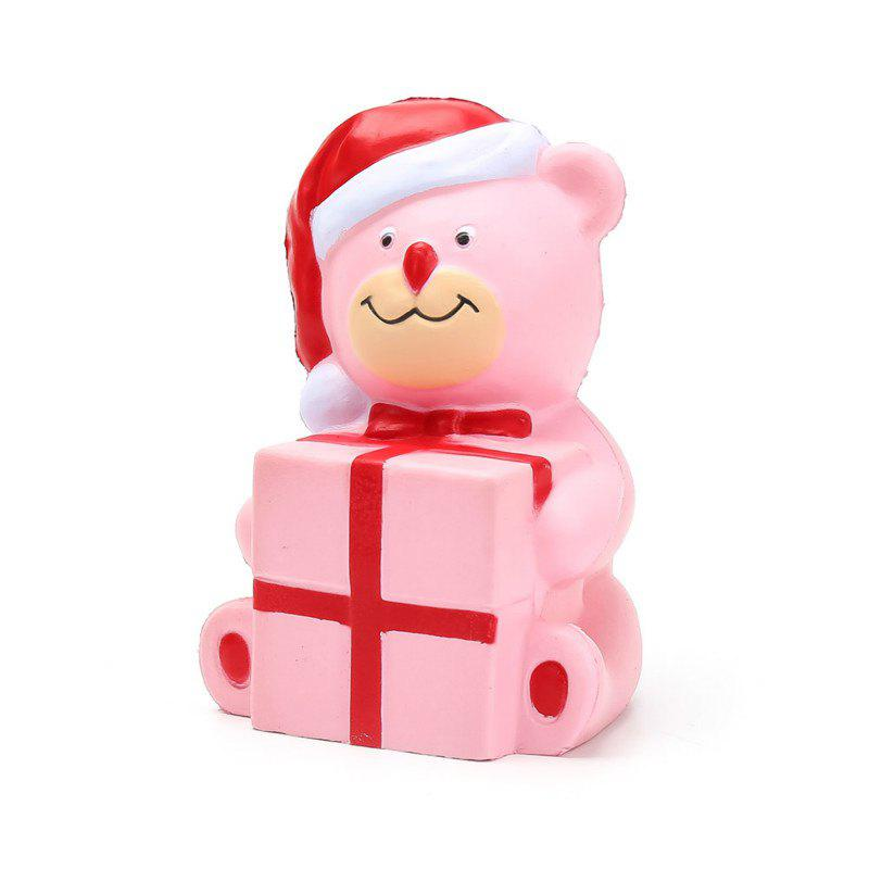 Jumbo Squishy Slow Rising Stress Relief Toy Made By Enviromental PU Replica Cartoon Christmas Bear - PINK