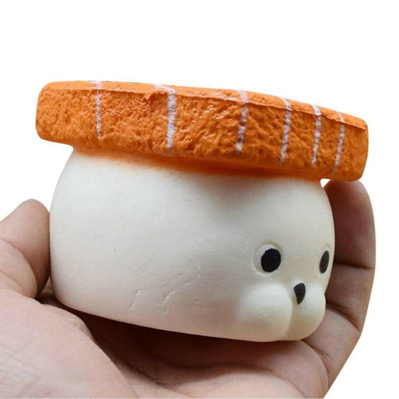 Jumbo Squishy Slow Rising Stress Relief Toy Made By Enviromental PU Replica Salmon Fish Sushi Seal 9CM Height - WHITE