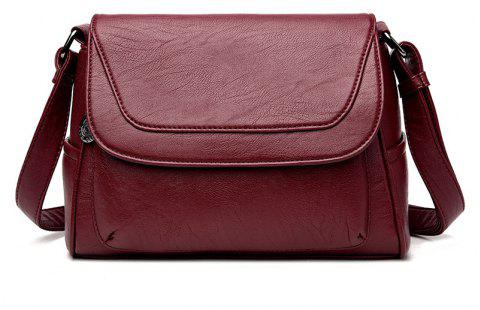 Soft Leather Old Lady Messenger Bag - WINE RED