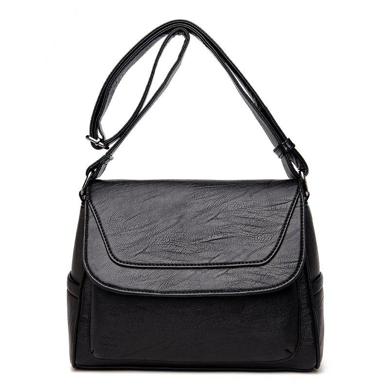 Soft Leather Old Lady Messenger Bag - BLACK