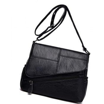 Stitching Clamshell Messenger Bag - BLACK