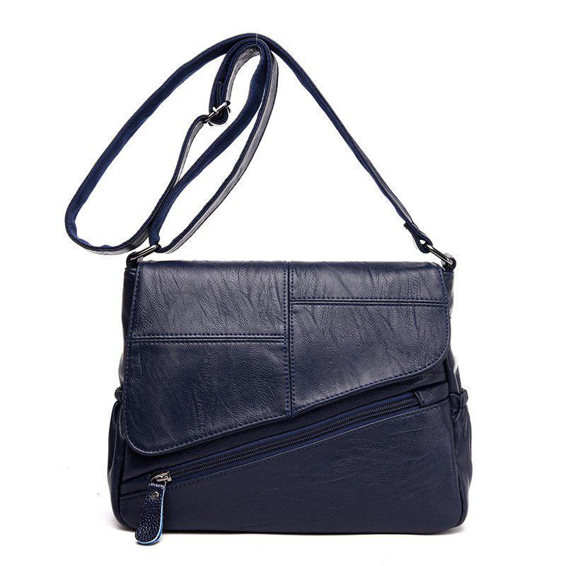 Stitching Clamshell Messenger Bag - BLUE