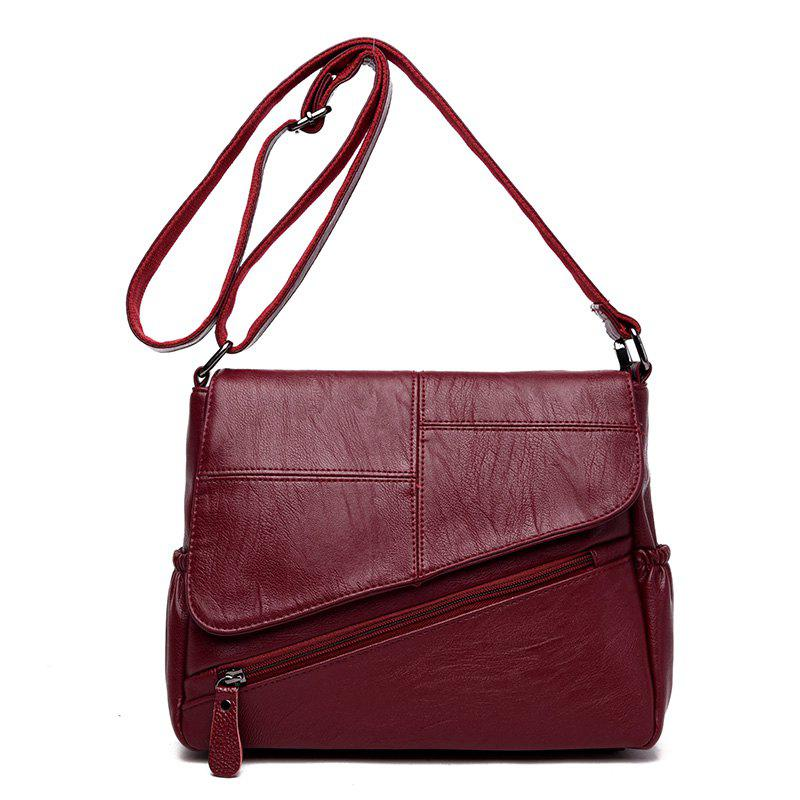 Stitching Clamshell Messenger Bag - WINE RED