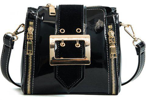 Leather Fashion Handbag Diagonal Small Bag - BLACK